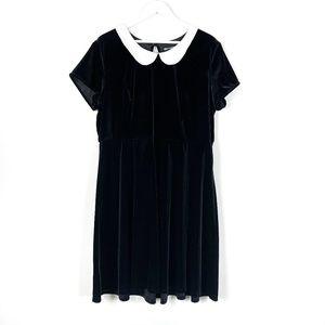 Hot Topic Black Velvet Collared Dress 2X